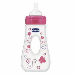 Chicco flašice đevrek 240ml sa cuclom od silikona, devojčice