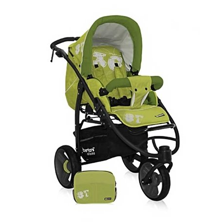 Bertoni - kolica za bebe atlanta 3 green figures+basket+mama bag