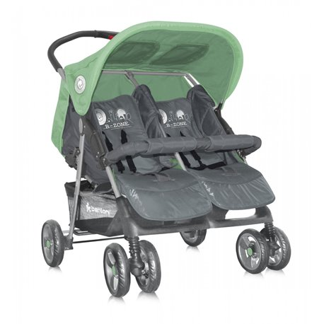 Bertoni - kolica twin grey green b zone+mam bag